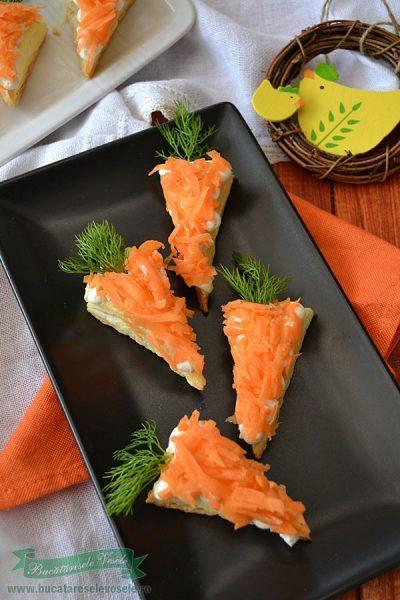 Aperitive cu crema de branza si morcov