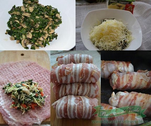 Rulouri de carne cu spanac si ciuperci