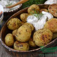 cartofi noi la cuptor cu sos de branza