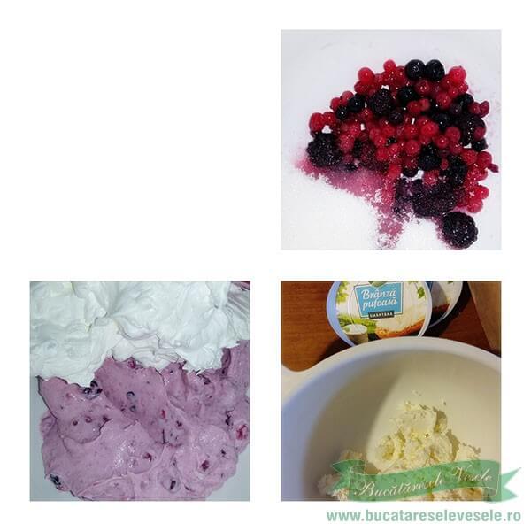 Preparare Crema Rulada cu Crema de Branza si Fructe de Padure